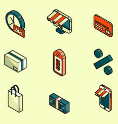 Shopping color outline isometric icons vector