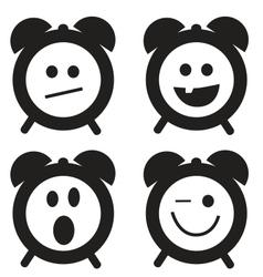 Smiles clock doodle cartoon set vector image