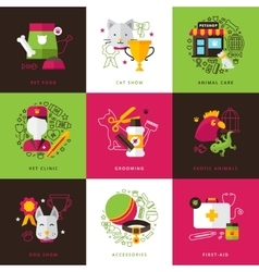 Veterinary icons compositions vector