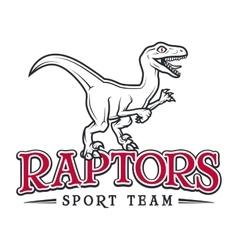 Vintage Jurassic raptor Logo Dino sport mascot vector image vector image