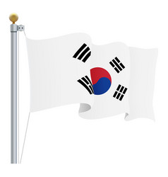 waving south corea flag isolated on a white vector image vector image