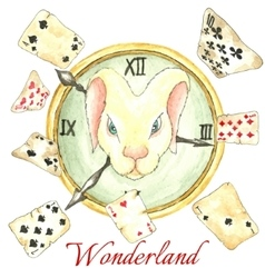 White rabbit on the clock and old playing cards vector