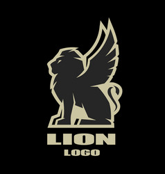 Winged lion logo symbol vector