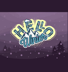 winter typographic card design with mountain image vector image vector image