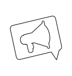 Single megaphone within conversation bubble icon vector
