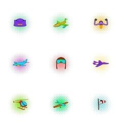 Air transport icons set pop-art style vector