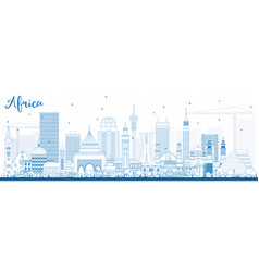 Outline africa skyline with famous landmarks vector