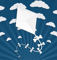 Kite on a blue background with clouds and rays vector