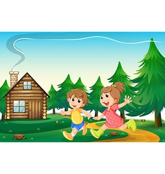 Kids playing outside the wooden house at the vector image