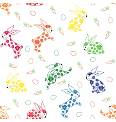 Seamless pattern with ornamental rabbits vector