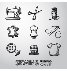 Set of handdrawn sewing icons - machine scissors vector