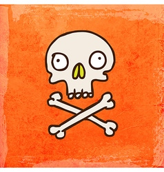 Skull cross and bones cartoon vector