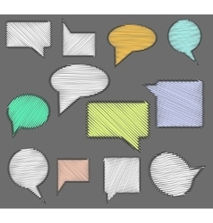 Set of speech bubble icons with scribble hand vector