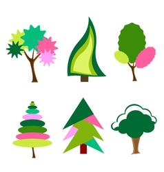 Cartoon colorful trees vector