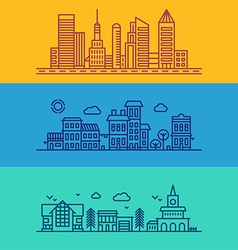 Set of flat style line art for modern buildings vector