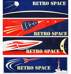 Retro space web banners vector