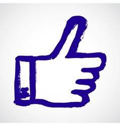 Thumb up blue hand symbol vector
