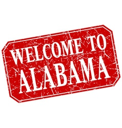 Welcome to alabama red square grunge stamp vector