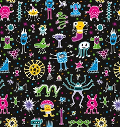 Monsters seamless pattern vector