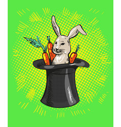 a cute cartoon magicians bunny rabbit coming out vector image