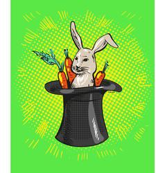 a cute cartoon magicians bunny rabbit coming out vector image vector image