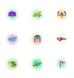 Air transport icons set pop-art style vector image vector image