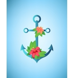 Anchor hibiscus flowers and palm leaves retro vector image