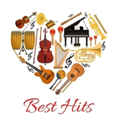 Best hits heart icon of musical instruments vector