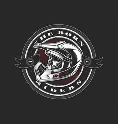 biker skull in helmet vector image
