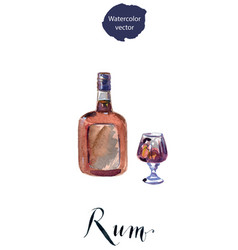 bottle and glass of rum vector image vector image