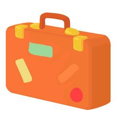 Brown suitcase icon cartoon style vector
