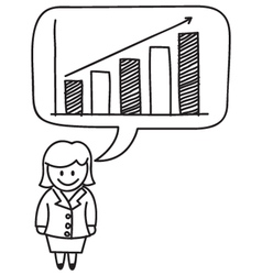 Businesswoman growth graph vector
