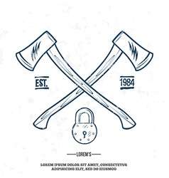 Crossed axes with padlock t-shirt print vector