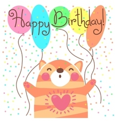Cute happy birthday card with funny kitten vector