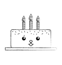 Delicious cake brithday with candles kawaii vector