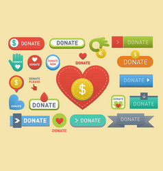 Donate buttons set help icon vector