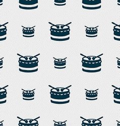 drum icon sign Seamless pattern with geometric vector image