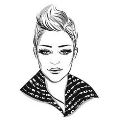 Fashion portrait lineart vector