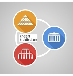 Flat ancient architecture vector