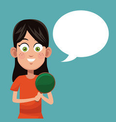 Girl game ping pong practice vector