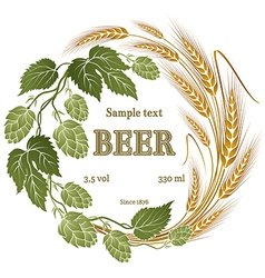 hops and wheat for beer label vector image vector image