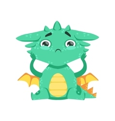 Little anime style baby dragon feeling lonely vector