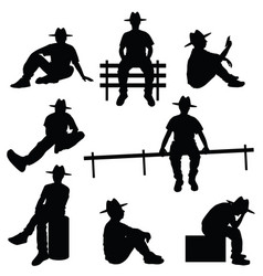 man silhouette sitting with hat vector image