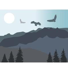Mountains eagles vector