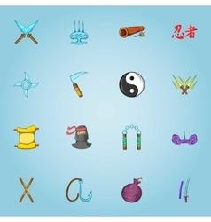 Ninja icons set cartoon style vector