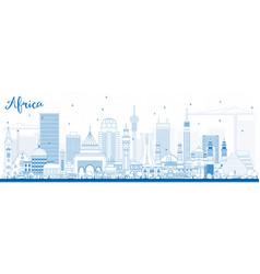 Outline africa skyline with famous landmarks vector
