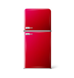Red retro refrigerator vector