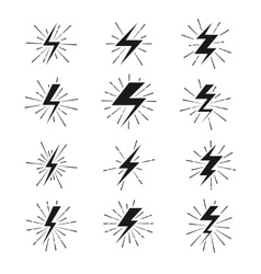 Retro lightning bolt signs with sunburst effect vector