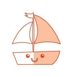 Sailboat sea kawaii character vector