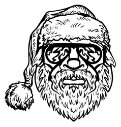 santa claus in sunglasses christmas symbol sketch vector image vector image